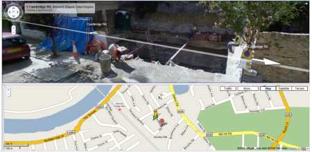 Health and Safety? Google Street View Reveals Giant Hole (click to enlarge)