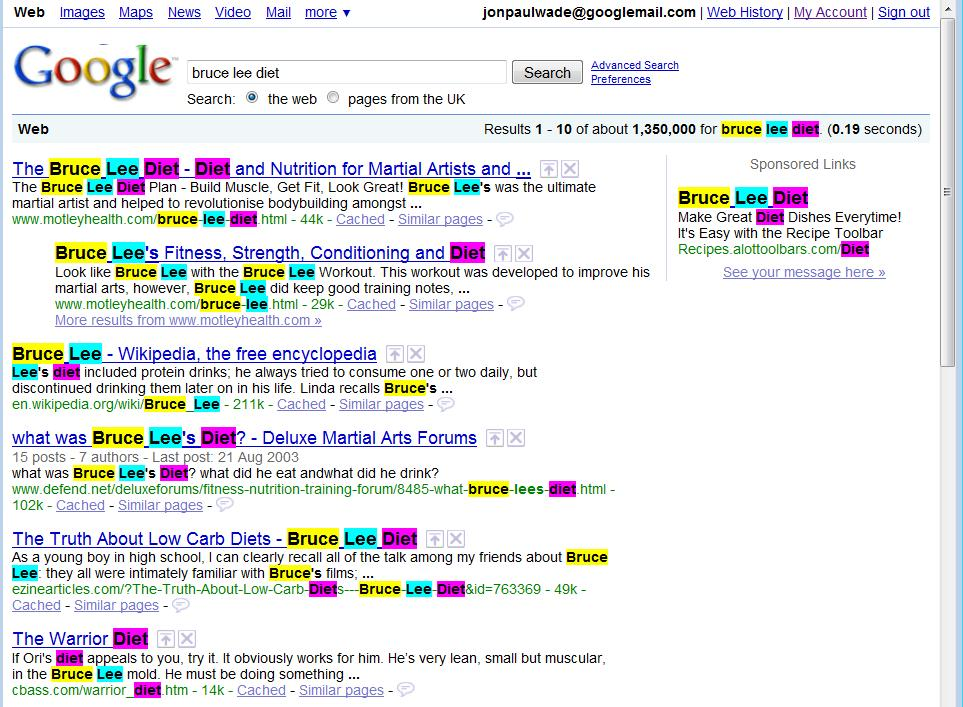 Google colors in search term keywords on another page
