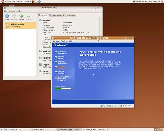 Installing XP in Ubuntu with Virtualbox
