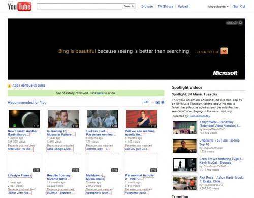 Bing on Youtube