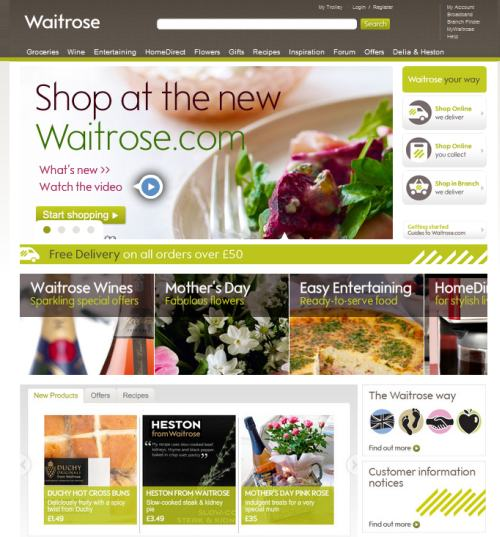Screenshot of Waitrose New Website
