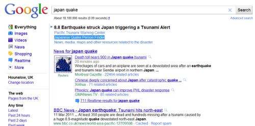 a screenshot of a google search for Japan Quake