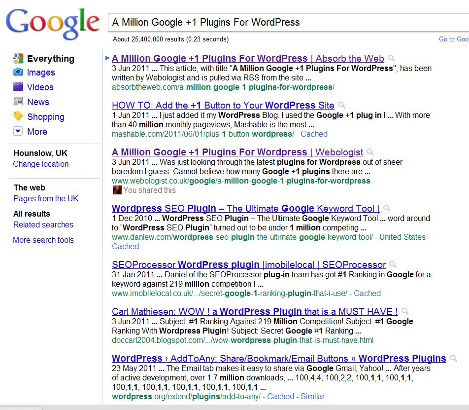 Google search results showing a site re-publishing my RSS