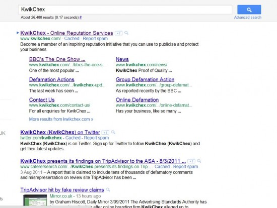kwicheck search in Google