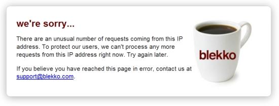 Blekko error page - unusual IP requests