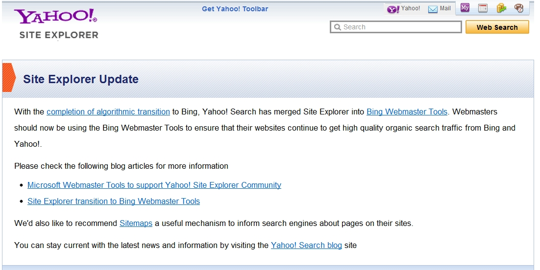 The last Yahoo site explorer screenshot