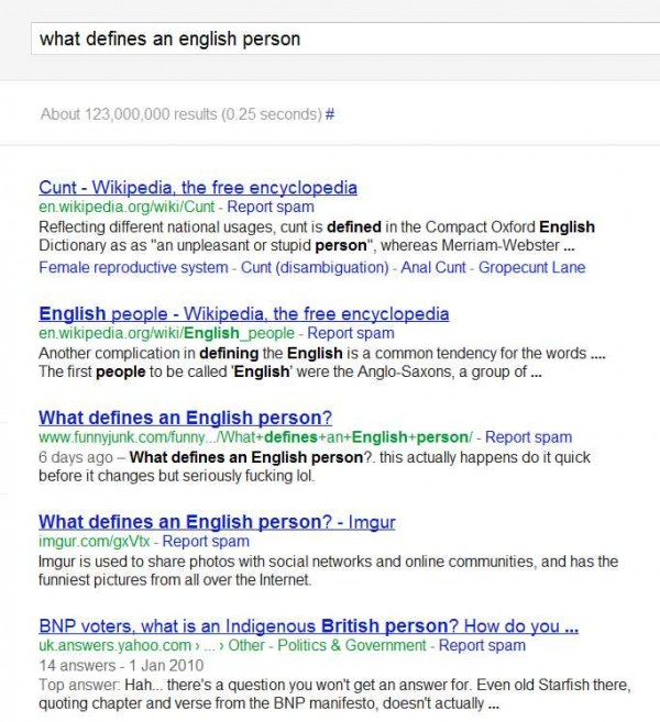 Google search results for What defines an English person