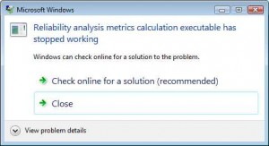 Reliability analysis metrics calculation executable has stopped working