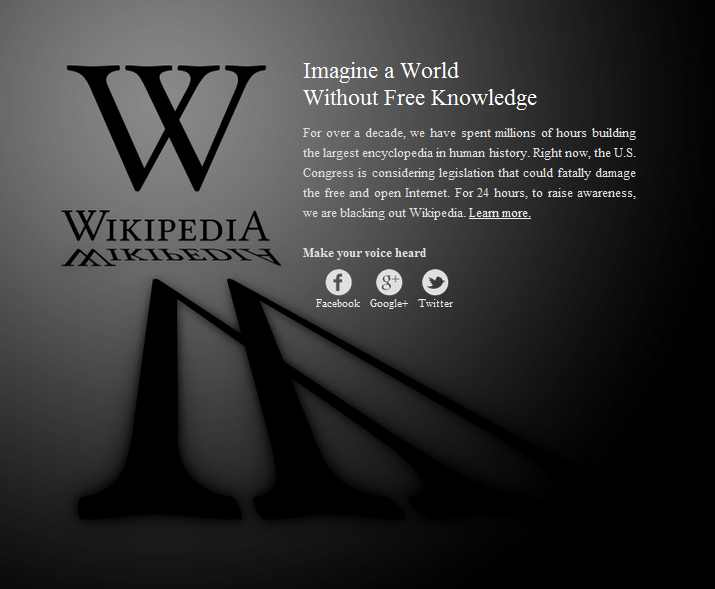 Wikipedia switched off on 18th January 2012