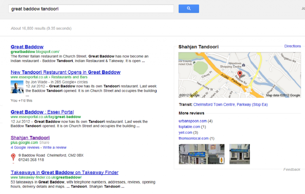 Screenshot of a Google search result for Great Baddow Tandoori