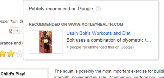 Google + page recommendation