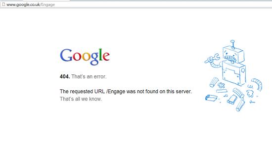 Gogole 404 message