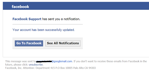 Phishing Scam: Facebook Support Sent You a Notification