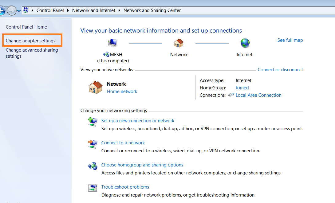 Changing to Google DNS in Windows 7