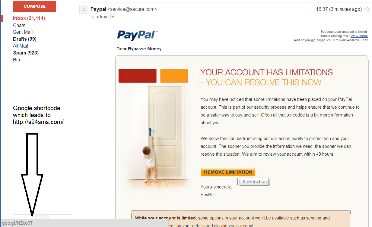 Email apparently from PayPal
