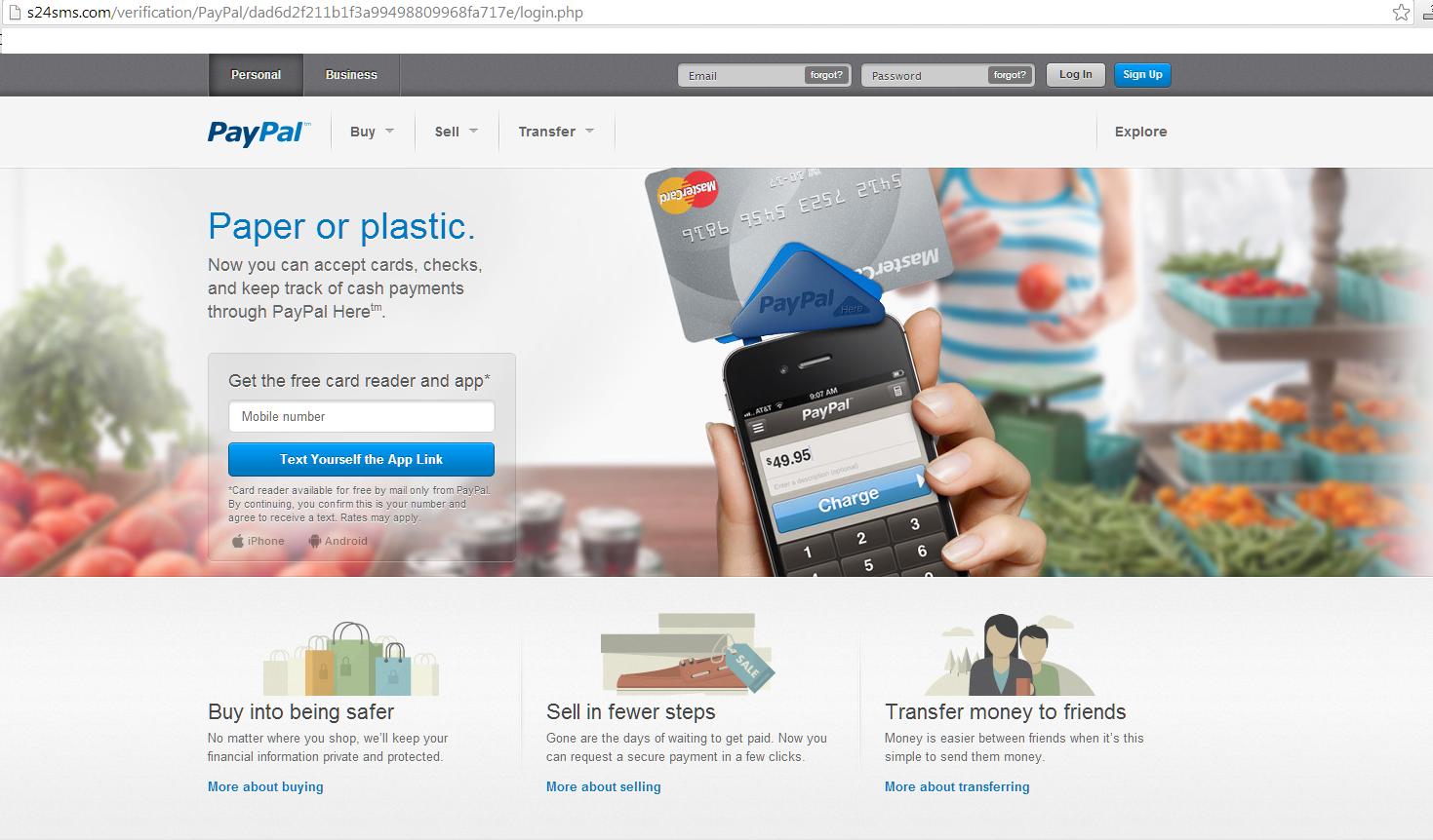 The page that looks like Paypal, but is s25sms.com