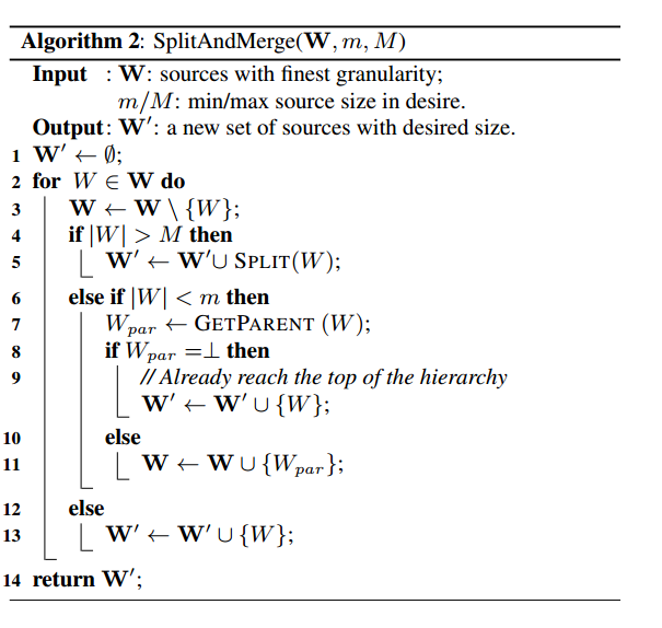 Algorithm 2 SplitAndMerge
